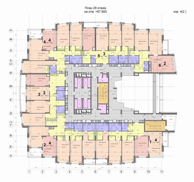 План 28 этажа одного из корпусов