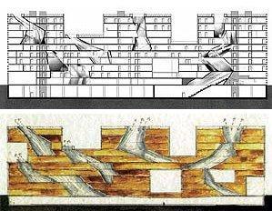 Продольный разрез. Схема вентиляции и инсоляции здания