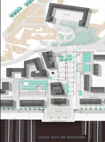 Франк Аммутен. Реконструкция комплекса марсельской Ратуши. План.© Franck Hammoutene