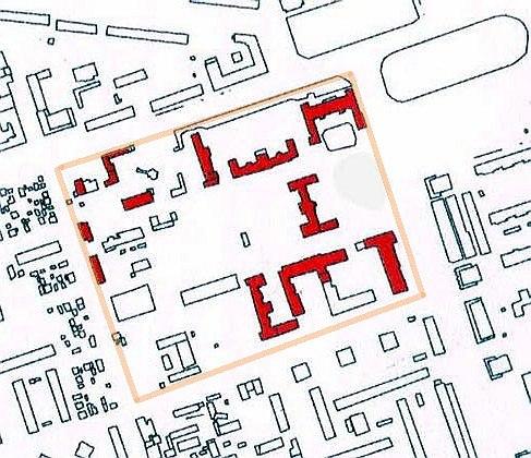 Современный генплан. Красным выделены корпуса 1920х годов. Оранжевым показана территория памятника.