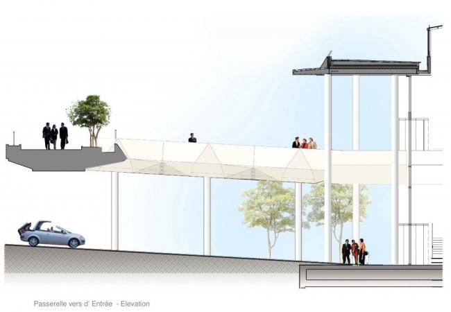 Башня FIRST - реконструкция. Пешеходный мост и вход в здание © KPF