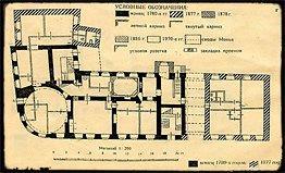 План углового дома усадьбы М.Ф. Казакова с пристройками 1877 и 1878 годов.