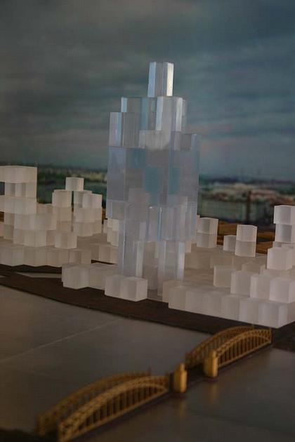 Рем Колхас. Эскизный проект «Газпром-сити» на выставке в Академии художеств. Фото: Валентина Илюшина, Фонтанка.ру.