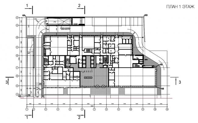 Бизнес-центр «Marr Plaza». План 1 этажа. Реализация, 2008 © Архитектурная мастерская «Группа АБВ»
