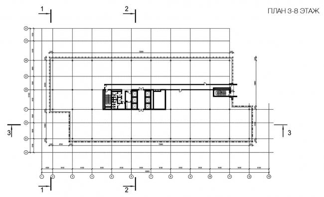 Бизнес-центр «Marr Plaza». План 8 этажа. Реализация, 2008 © Архитектурная мастерская «Группа АБВ»