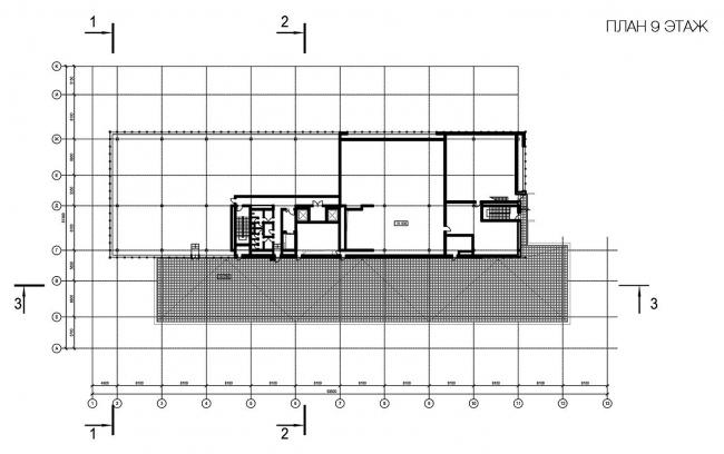 Бизнес-центр «Marr Plaza». План 9 этажа. Реализация, 2008 © Архитектурная мастерская «Группа АБВ»