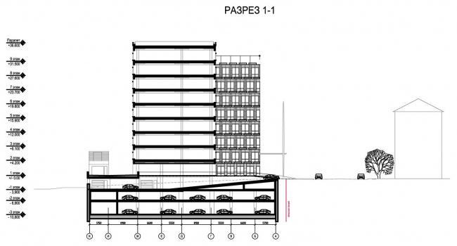 Бизнес-центр «Marr Plaza». Разрез 1-1. Реализация, 2008 © Архитектурная мастерская «Группа АБВ»