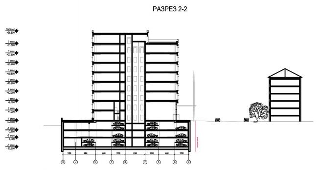 Бизнес-центр «Marr Plaza». Разрез 2-2. Реализация, 2008 © Архитектурная мастерская «Группа АБВ»