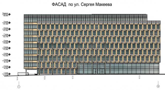 Бизнес-центр «Marr Plaza». Фасад по ул. Сергея Макеева. Реализация, 2008 © Архитектурная Архитектурная мастерская «Группа АБВ»