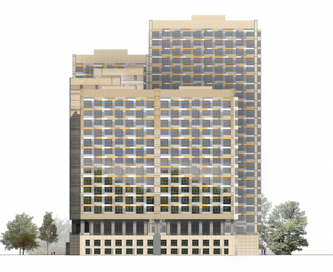 Жилой комплекс «Седьмое Небо». Фасад. Реализация, 2008 © Архитектурная мастерская «Группа АБВ»