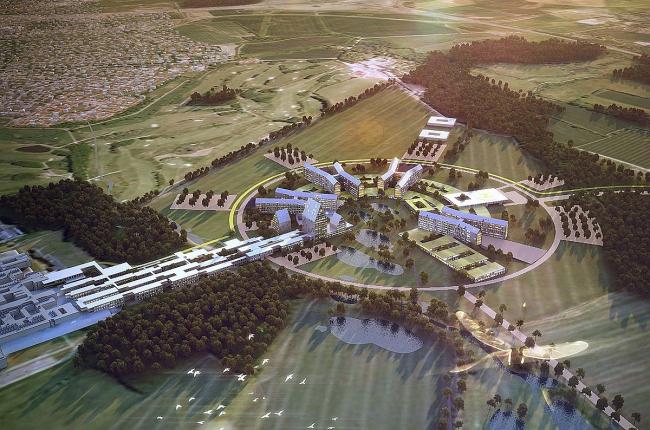 Больница и медицинский факультет университета Оденсе. Конкурсный проект © Henning Larsen Architects