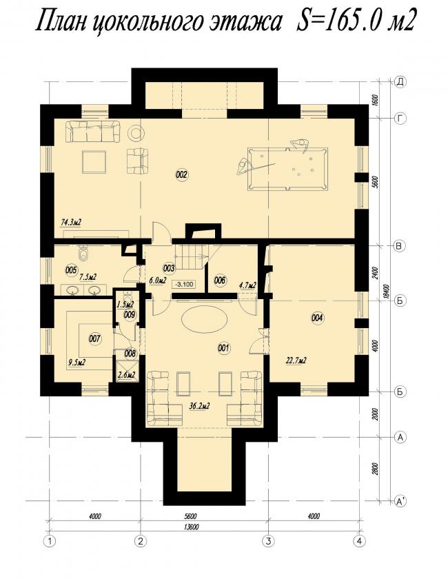 Дом в Тучково. План цокольного этажа