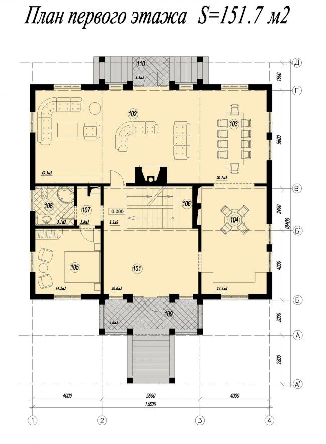 Дом в Тучково. План первого этажа