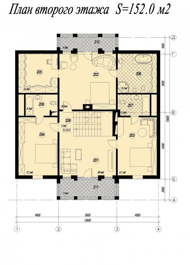 Дом в Тучково. План второго этажа