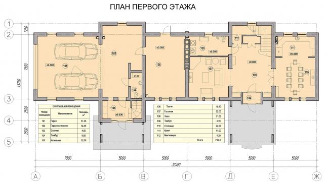 Дом в Пирогово. План первого этажа гостевого дома