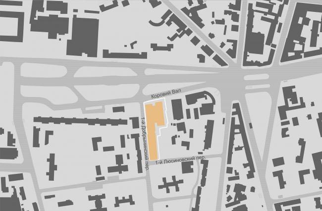 Офисное здание на улице Коровий вал. Ситуационный план. Проект, 2011 © Архитектурная мастерская «Группа АБВ»
