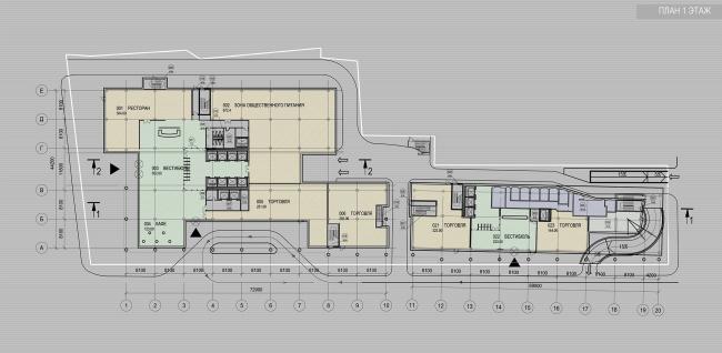 Офисное здание на улице Коровий вал. План 1-го этажа. Проект, 2011 © Архитектурная мастерская «Группа АБВ»