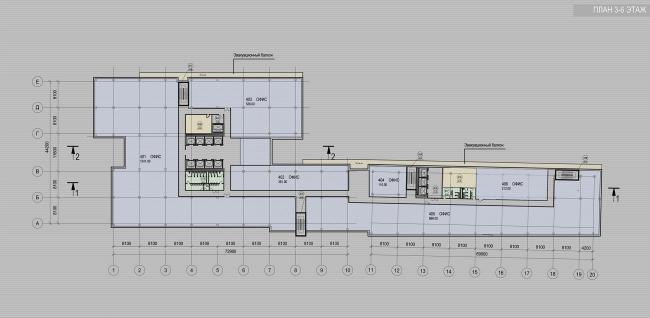 Офисное здание на улице Коровий вал. План 3-6 этажей. Проект, 2011 © Архитектурная мастерская «Группа АБВ»