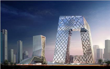 Здание Центрального Китайского Телевидения. Справа - здание Телевизионного дворца культуры