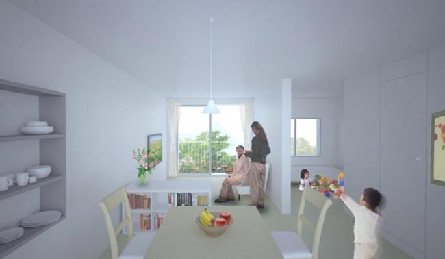 Многоэтажные временные дома © Shigeru Ban Architects