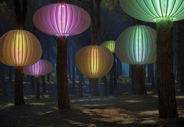 «Гнезда света» ночью. 3D-визуализация, © бюро PANACOM