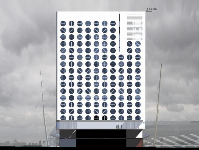 Демонстрационный корт с временными сборно-разборными трибунами и гостиницей для спортсменов в составе Национального теннисного центра России имени Хуан Антонио Самаранча © ТПО «Резерв»