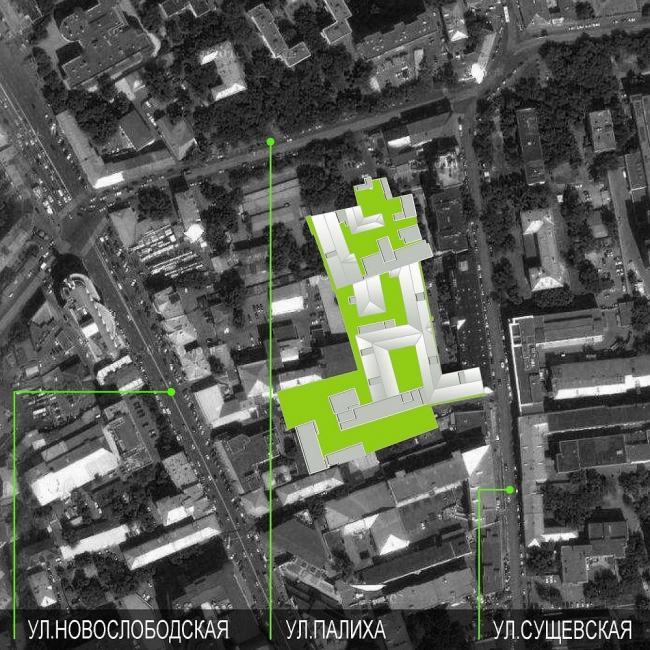 Офисный комплекс Атмосфера (реконструкция). Ситуационный план. Реализация, 2013 © ADM.