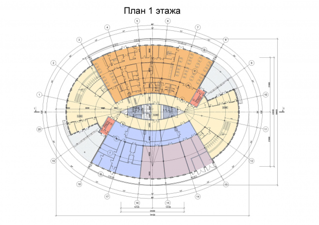 Административное здание на космодроме «Восточный». План 1-го этажа © ОАО «ИПРОМАШПРОМ»