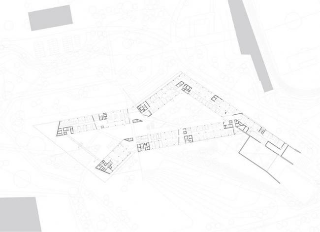 Здание adidas LACES. План уровня 0 © kadawittfeldarchitektur