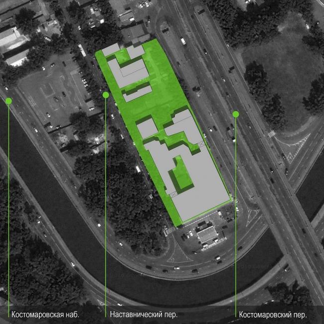 Ситуационный план. Бизнес-центр Bank side в Наставническом переулке. Проект © ADM architects