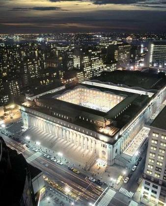 HOK. Вокзал Мойнихана.  Вид ночью. Проект 2005 г.