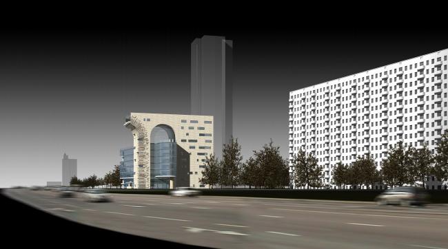 Офисное здание на Можайском шоссе. Вариант 2006-2007 годов (первый вариант)