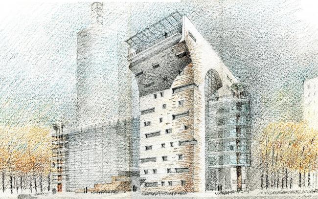 Дом-арка на Можайском шоссе. Проект. Эскиз. 2007 г. (первый вариант)