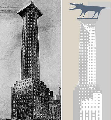 left: the project by Adolf Loos for The Chicago Tribune. right: The logo of Alexey Bavykin's studio