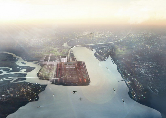 Проект Thames Hub. Вид аэропорта © Foster + Partners
