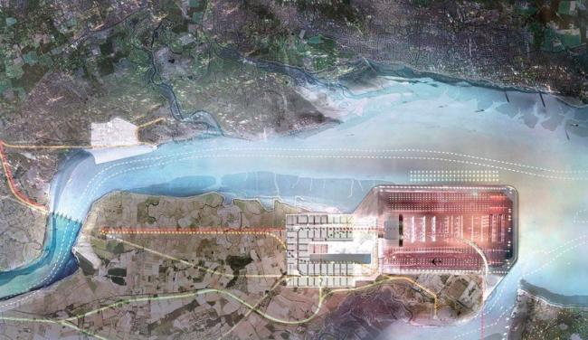 Проект Thames Hub. Аэропорт и антипаводковый барьер © Foster + Partners