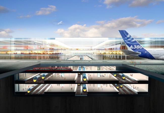 Проект Thames Hub. Железнодорожный терминал аэропорта © Foster + Partners