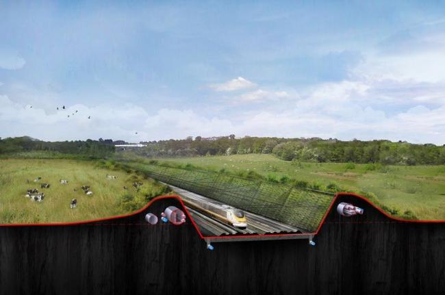 Проект Thames Hub, Разрез линии транспортной, энергетической и информационной сети © Foster + Partners
