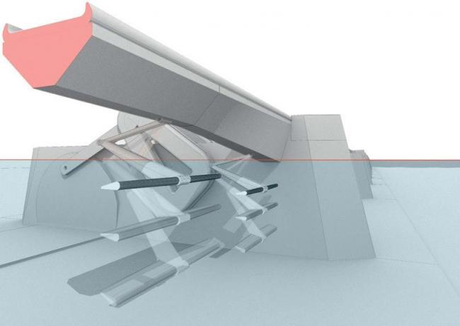 Проект Thames Hub. Турбина для выработки электричества с помощью энергии прибоя © Foster + Partners