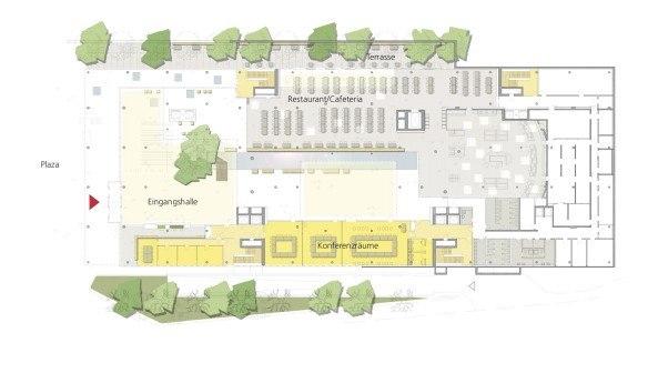 Штаб-квартира ВОИС. План 1-го этажа © Behnisch Architekten