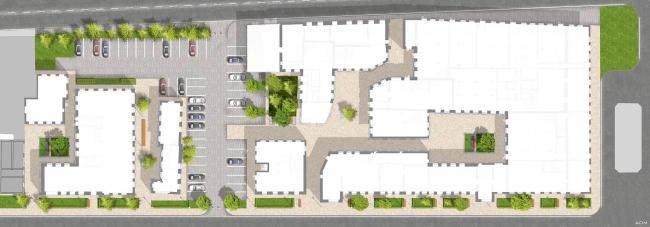 Схема благоустройства. Бизнес-центр Bank side в Наставническом переулке. Проект © ADM architects