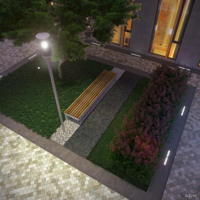 Дворик вечером. Бизнес-центр Bank side в Наставническом переулке. Проект © ADM architects