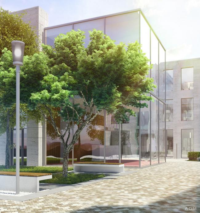 Дворик днем. Бизнес-центр Bank side в Наставническом переулке. Проект © ADM architects
