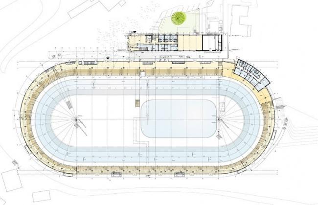 """Конькобежный стадион """"Max Aicher Arena"""" – реконструкция © Behnisch Architekten"""
