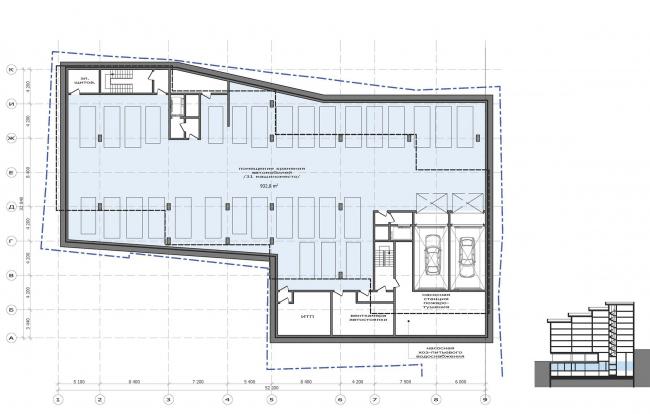 План 1 этажа.   Жилой дом на Саввинской набережной © ТПО «Резерв»