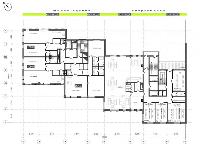 План 2 этажа.  Жилой дом на Саввинской набережной © ТПО «Резерв»