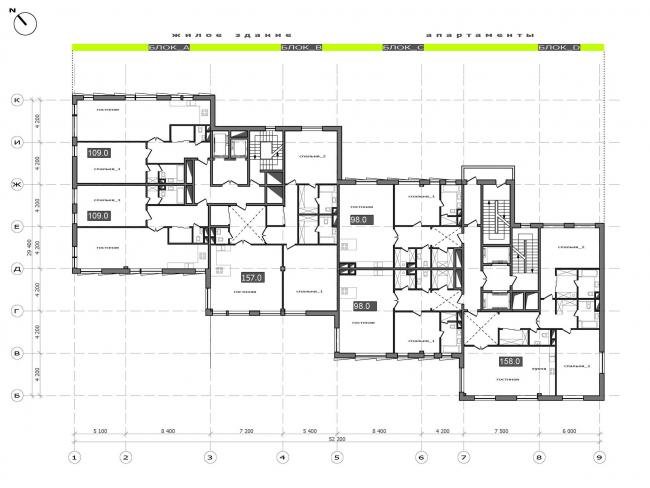 План 3 и 4 этажей.  Жилой дом на Саввинской набережной © ТПО «Резерв»