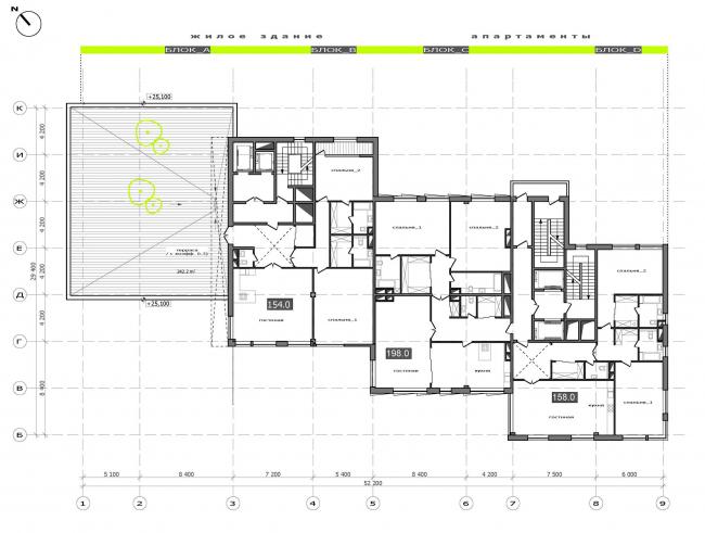 План 7 этажа.  Жилой дом на Саввинской набережной © ТПО «Резерв»