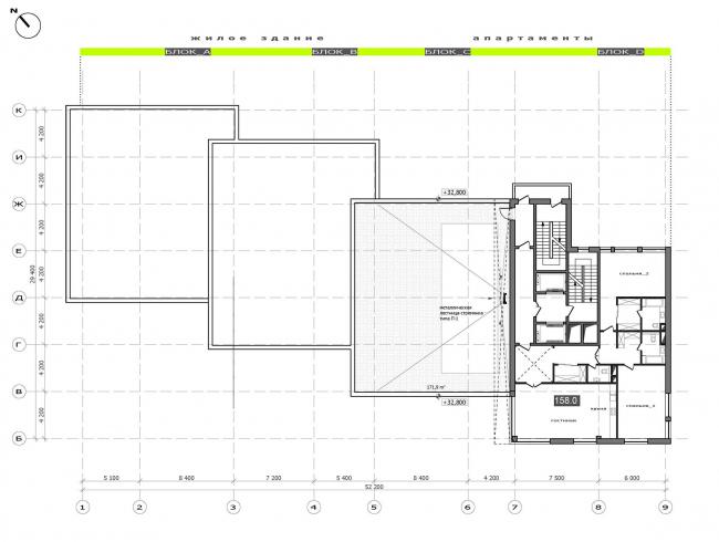План 9 этажа.  Жилой дом на Саввинской набережной © ТПО «Резерв»