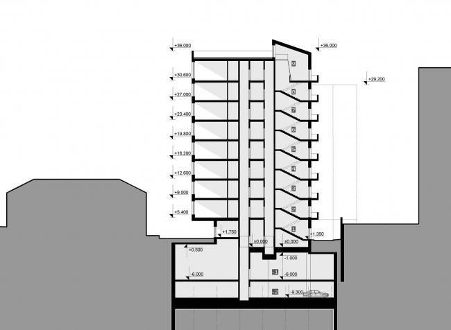 Разрез.  Жилой дом на Саввинской набережной © ТПО «Резерв»